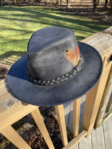 Vtg Mens XL HENSCHEL HAT Black Leather Braided Fed