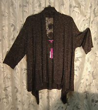 SHIMMER OPEN DRAPE FRONT LACE BACK LUREX CARDIGAN JACKET SWEATER WRAP TOP~1X~0X