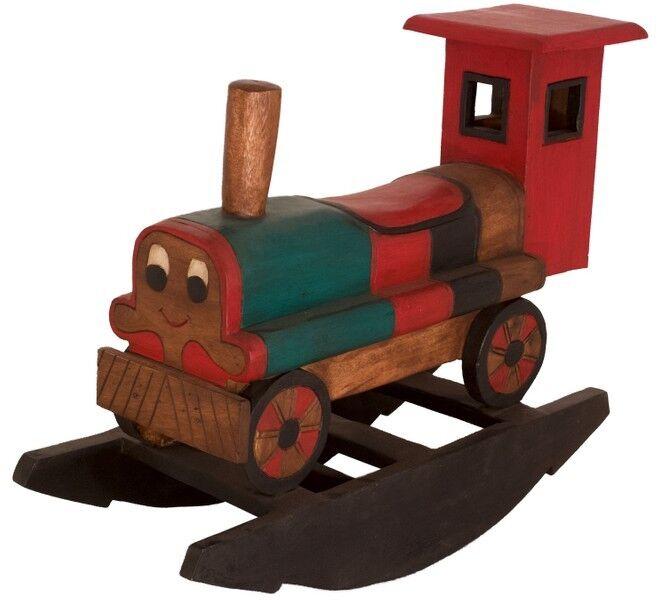 Kinder Holzschaukel Wippe Schaukel Eisenbahn Holz Massiv Asia Möbel Thai 83cm