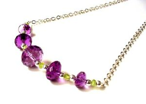 Gorgeous-16-034-925-Sterling-Silver-Faceted-Quality-Amethyst-Peridot-Necklace-F68
