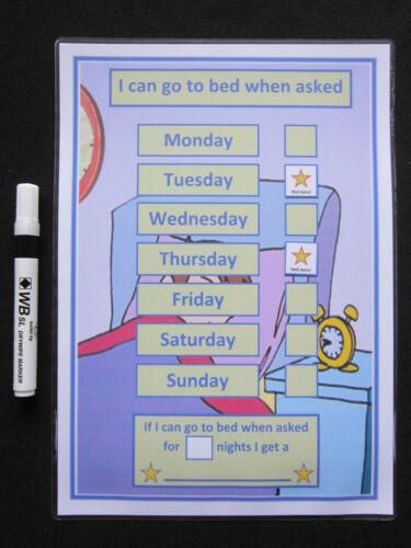 Autism ADHD ASD SEN PECS Visual Aids I CAN GO TO BED WHEN ASKED REWARD CHART