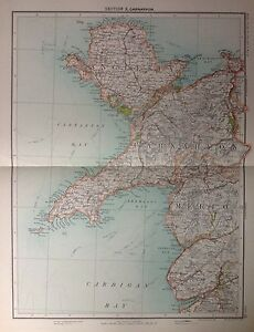 Caernarvonshire antique map c1898 bartholomew royal atlas of image is loading caernarvonshire antique map c1898 bartholomew royal atlas of gumiabroncs Gallery