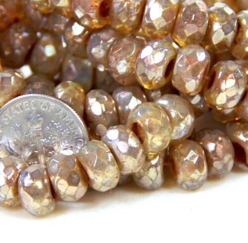 10 Pcs Czech Beads Champagne 6x9mm Rondelle 3mm Hole Roller Beads 0097