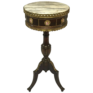 1-Fine-Small-French-Neoclassical-Style-Gilt-Ormolu-Round-Marble-Top-Side-Table