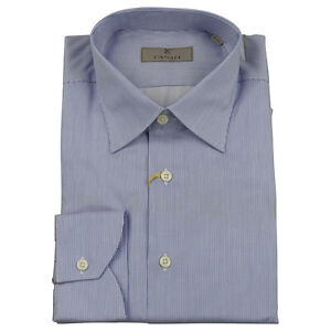 15 £149 Made Shirt 40 Uk Stripe Italy Canali Mens Blue Needle Bnwt white 75 In AU6wzq