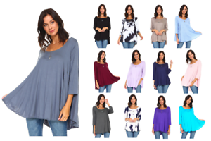 Women-039-s-3-4-Sleeve-Casual-Loose-Fit-Flare-Flowy-T-Shirt-Tunic-Top-Blouse-S-3X