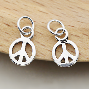solid Sterling silver PEACE charm sterling silver peace symbol sign pendant