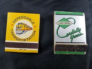 LOT-OF-2-COLLECTIBLE-RAILROAD-MATCHBOOKS-UNION-PACIFIC-RAILROAD-ILLINOIS-CENTRAL