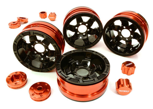 RC Car C26877RED 6 Spoke Wheels w//6 Bolt S-Adapters for Most 1.9 Scale Crawler