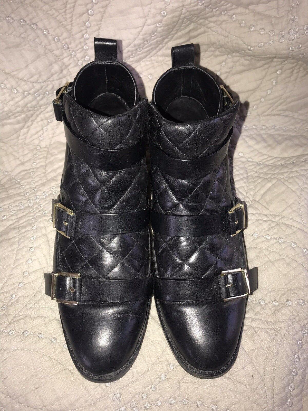 Zara Biker Hebilla Cuero Negro botas Bota de moto 40 euro 9 EE. UU.