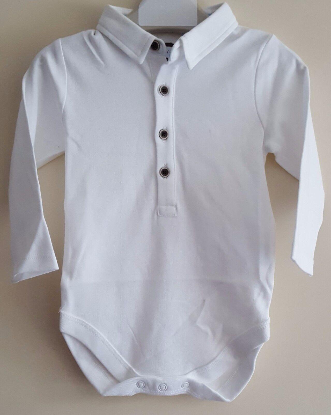 Baby Boys Button Neck Ex N Xt Polo Shirt Smart Collared White