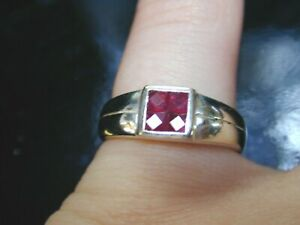 4-Stone-Ruby-Cluster-Square-French-Cut-amp-18-Carat-White-Gold-Ring-Size-K-5-3g