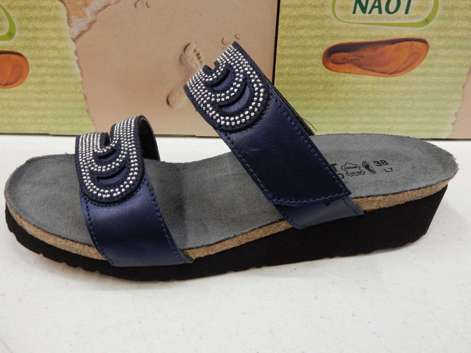 NAOT WOMENS SANDALS AINSLEY POLAR SEA blueE SILVER RIVETS SIZE EU 38