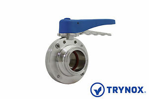 2'' Sanitary Butterfly Valve Clamp Ends Silicone 316L Stainless Steel Trynox