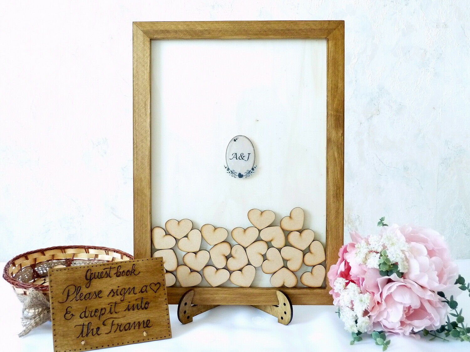 Wedding Drop Box Guest Book Alternative. Personalised Rustic Wooden Guest Book