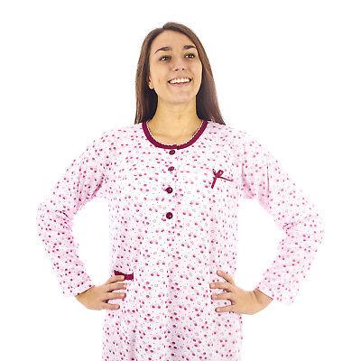 Wholesale, Large & Small Lots Loyal Camicia Da Notte Donna Invernale In Caldo Cotone Interlock Felpata 7dicam031 Pure And Mild Flavor