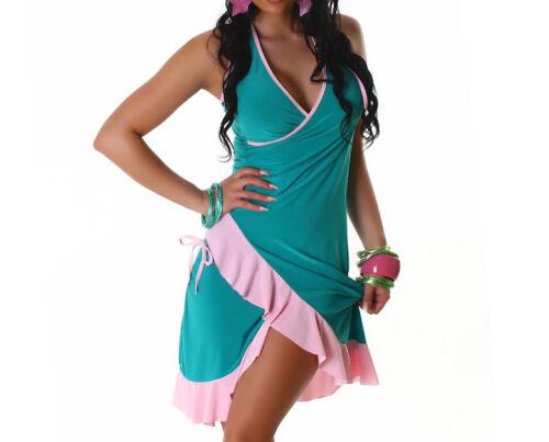 Neckholderkleid Kleid 36 gelb pink blau grün rosa Latin Neckkleid Latinkleid