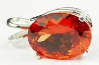Clemson Fans Sp004, 16x12mm 12ct Padparadsha Cz, Sterling Silver Ladies Pendant