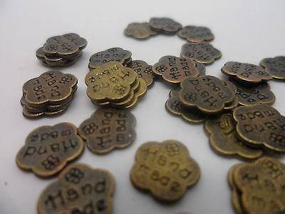 "100 x Antique Bronze~Floating ""Hand Made"" Flower~Charm~8x8mm~Card,scrapbooking"