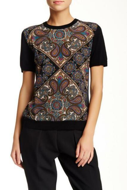 TRINA TURK~$228.00 *OLSEN SILK & WOOL BLOUSE* ABSTRACT SWEATER TOP~M (SOLD OUT)