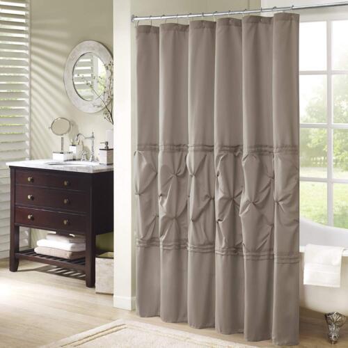 Taupe Earthtone Concrete Color Tufted Fancy Home Decor Bathroom Shower Curtain
