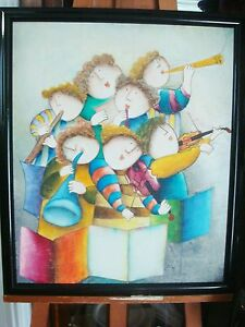 Joyce-J-Roybal-Oil-on-Canvas-painting-7-Musicians-24-034-x-20-034-signed-lower-righ