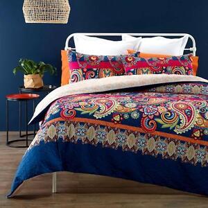 BELLEVUE-Navy-Blue-Pink-Quilt-Cover-Set-Quilted-Effect-QUEEN-KING-Doona-Duvet
