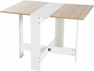 Fold Away Dining Table Space Saving Down Flat White Wood Folding Out Work Desk Ebay