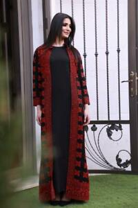 Abaya-thobe-Long-Embroidery-Jacket-Palestinian-Jordanian-Heritage-Dress