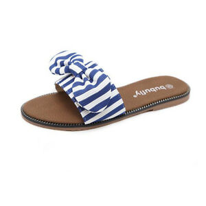 Sandals-Elegant-Slippers-Low-Striped-Blue-Comfortable-Leather-Synthetic-9861
