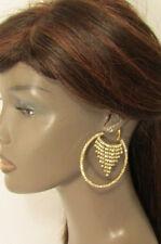 New Women Gold Earrings Fashion Big Hoop Round Dangle Fringe Rhinestones Urban