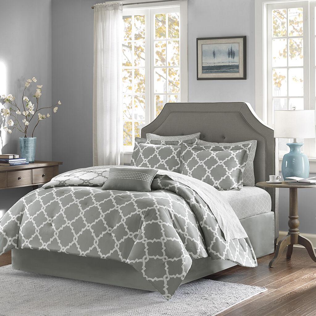 BEAUTIFUL MODERN REVERSIBLE BED IN A BAG grau Blau Weiß COMFORTER SET & SHEETS