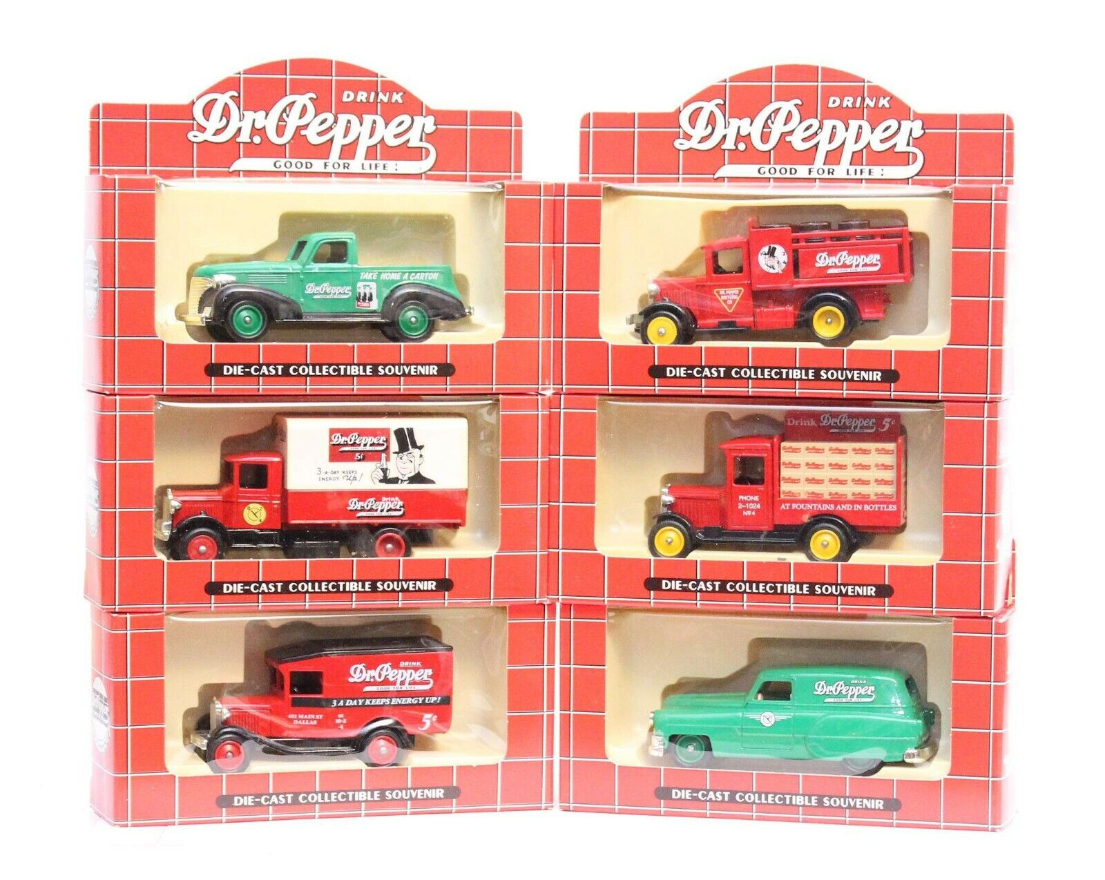 Set of 6 Dr Pepper Delivery Collection Die-Cast Collectible Souvenirs by Lledo