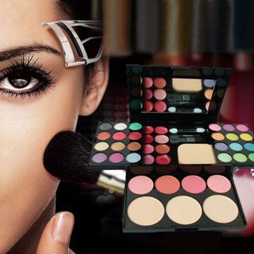 Face Powder Blusher Lip Gloss Eyeshadow Palette Makeup Set Mirror Cosmetic Kit