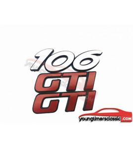 Lot-de-2-monogrammes-034-106-034-phase-2-034-GTI-034-pour-PEUGEOT-106-LOGO-BADGE-EMBLEM