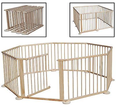BABY WOODEN PLAYPEN 7.2M INCLUDING DOOR 8 SIDE CHILD CHILDREN FOLDABLE