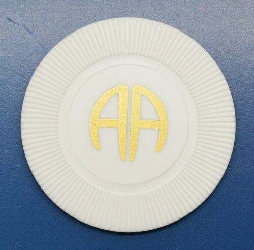 AA White Poker Chip Alcoholics Anonymous Token