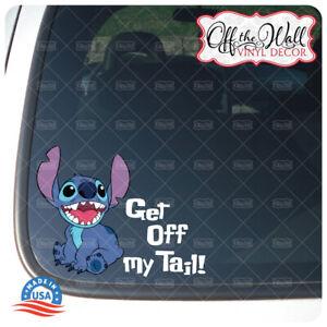 """Stitch """"Get off my tail!"""" Printed Die-cut Vinyl Sticker"""