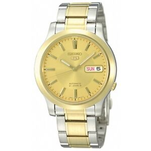 Seiko-5-SNK792-K1-Yellow-Gold-Dial-Stainless-Steel-Men-039-s-Automatic-Analog-Watch