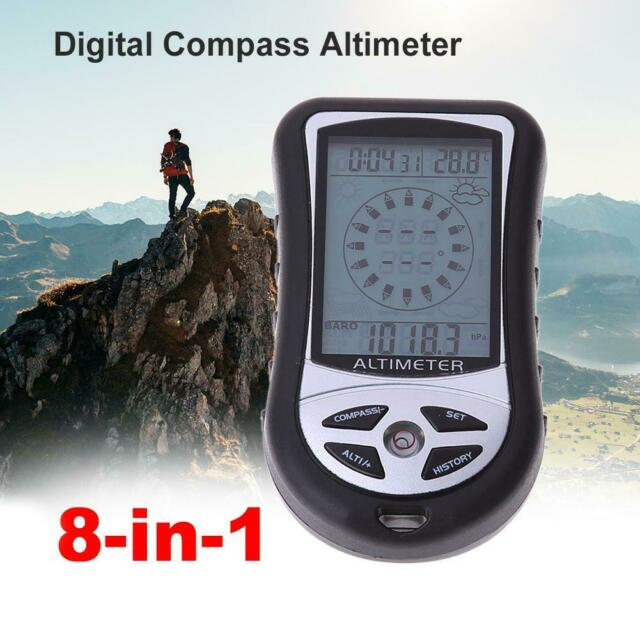 Multi Handheld Electronic Altimeter Compass Altitude Gauge Thermometer Barometer