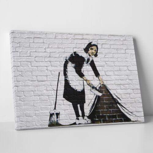 BANKSY ON CANVAS Stampa FINE ART ad alta risoluzione su Tela f.to 50x70 cm