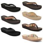 Womens Ladies Dunlop Toe Post Wedge Beach Summer Flip Flop Sandals UK Sizes