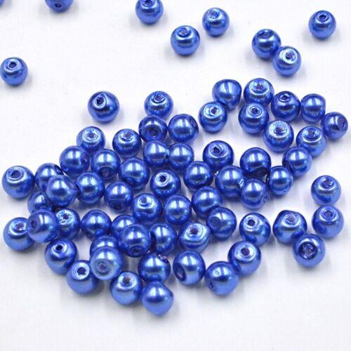 Lot 30 Perle imitation en Verre 6mm Bleu Foncé Brillant creation Bijoux Bracelet