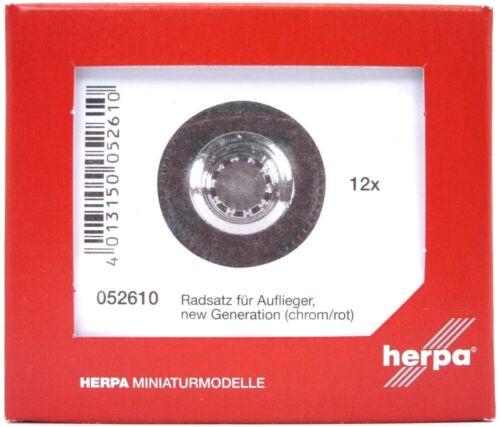 chrom//rot, 12 Sätze #052610 HERPA Zubehör 1:87//H0 Reifen für Auflieger