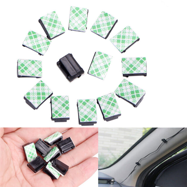 50Pcs Wire Clip Black Car Tie Rectangle Cable Holder Mount Clamp self adhesivLA