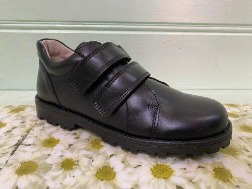 Bo-Bell Childrens Boys Obaron Leather Strap School Shoes Black
