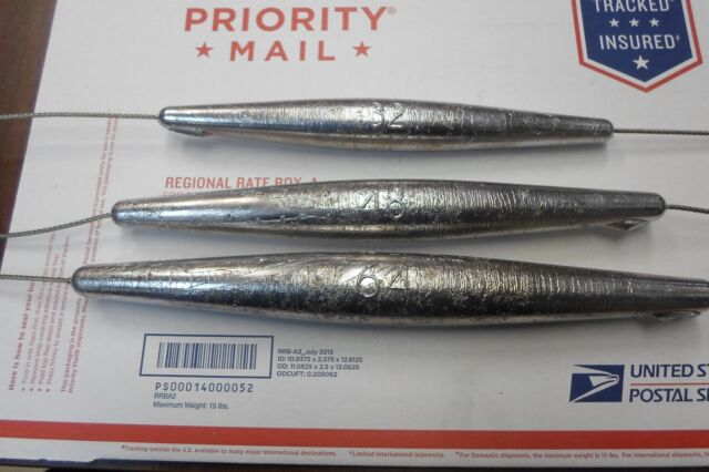 High Speed Wahoo Inline Trolling Weight 20 24 28 oz Sinkers on Stainless Cable