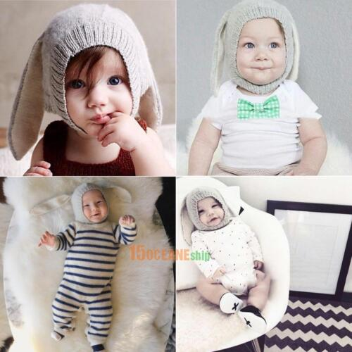 Winter Cute Baby Rabbit Ears Knitted Hat Toddler Kids Wool Cap For Children 0-3Y