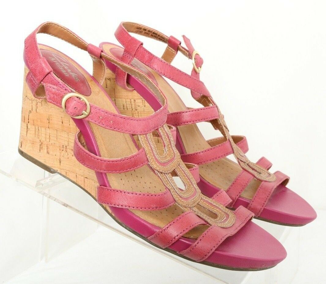 Clarks Artisan 64028 Open Toe Strappy Pink Cork Wedge Heel Sandales Damenschuhe US 10M