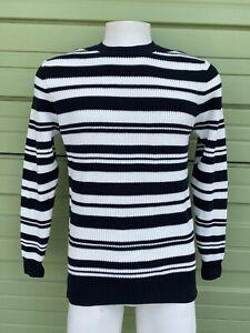 NWT-ZARA-Black-and-white-MAN-Striped-sweater-round-neck-long-sleeve-M-E55